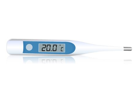 celcius: illustration of  digital thermometer icon on white background