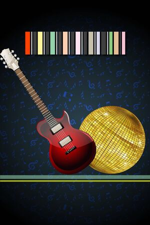 illustration of disco ball with guitar Stock Vector - 8302878
