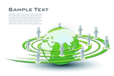 societies: illustration of networking with globe on white background Illustration