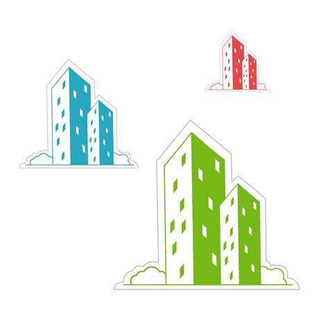 illustratie van gebouwen op witte achtergrond