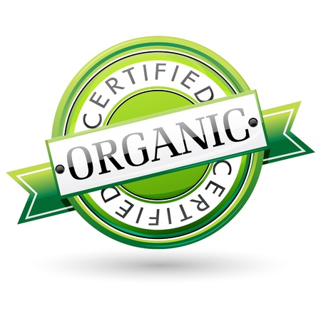 Ilustración del sello orgánico sobre fondo blanco