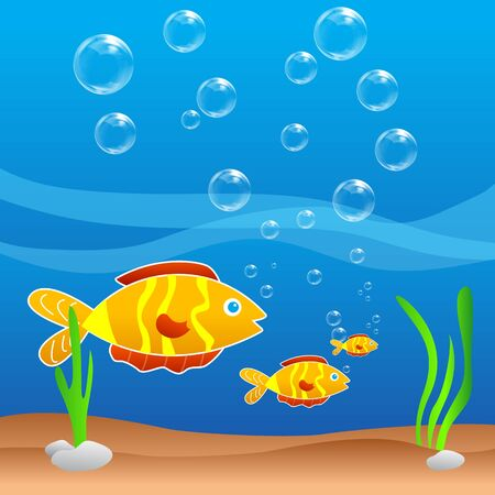 swimming underwater: illustration of fish in water