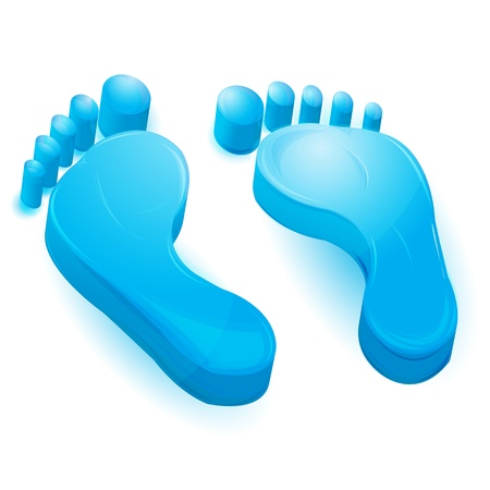 inprint: illustration of foot prints on white background