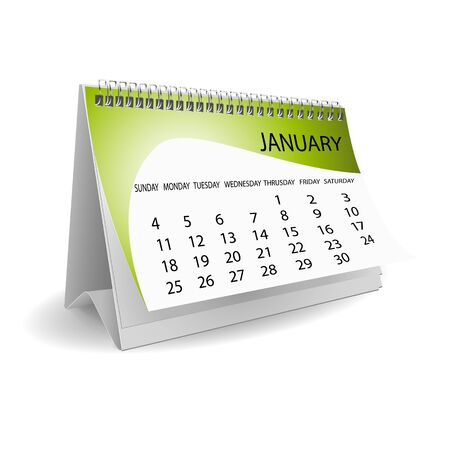 almanak: illustratie van kalender op witte achtergrond Stock Illustratie