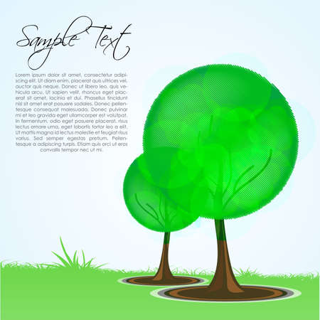 illustration of natural sketch card with tree and grass Stock Vector - 8302957