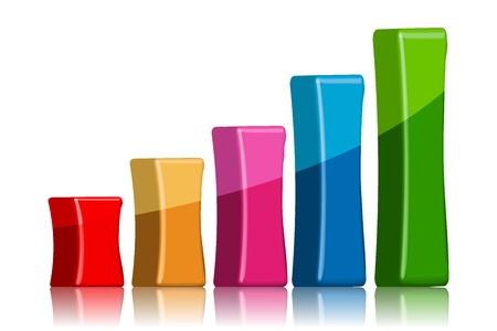 grafico vendite: illustrazione del grafico a barre su sfondo bianco