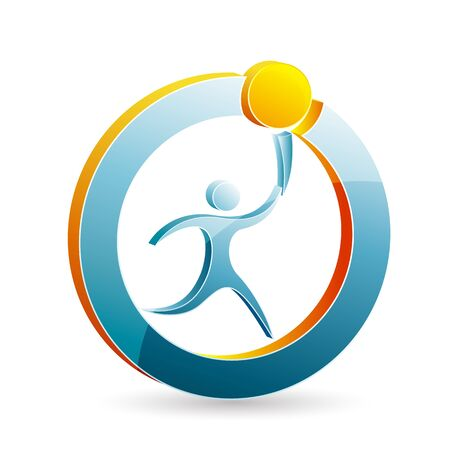 sport logo: illustration of modern logo of man with torch on white background Illustration