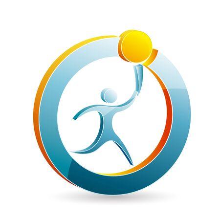 relevos: Ilustraci�n del logotipo moderno del hombre con la antorcha sobre fondo blanco