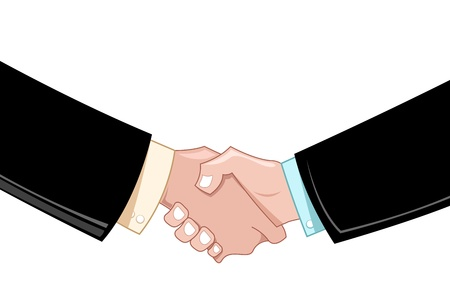 contracts: illustration of business deal with hands on white background