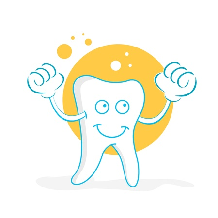 cleanliness: illustration of happy teeth on white background