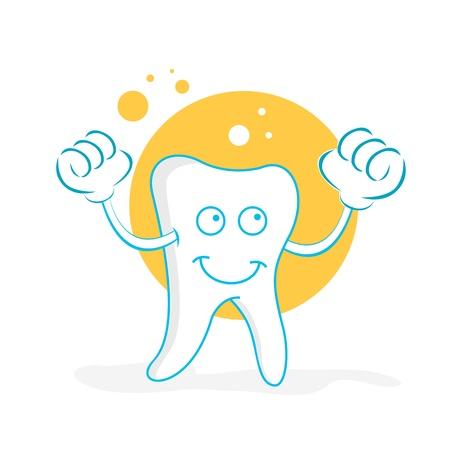 fresh idea: illustration of happy teeth on white background