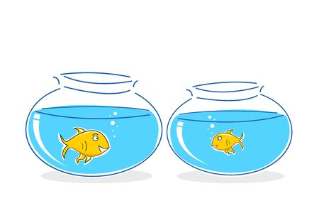 illustration of fish in tank on white background Stock Vector - 8302575