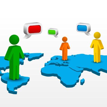 social net: illustration of global networking on white background