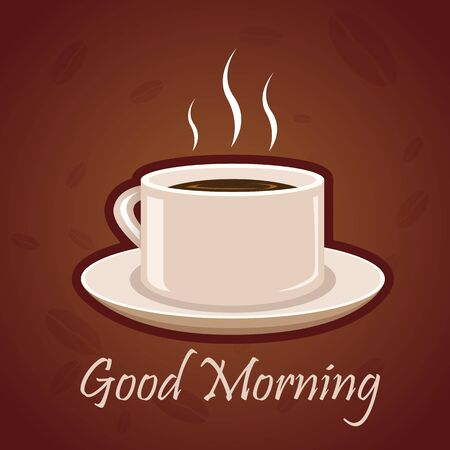 cup and saucer: illustration of good morning card with hot coffee on white background