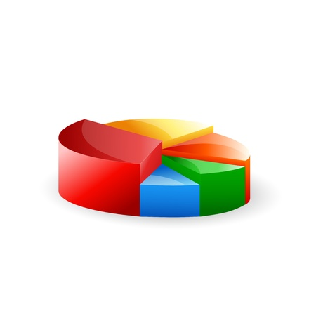 illustration of colored pie chart on white background Vector