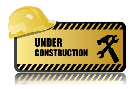 illustration of under construction on white background