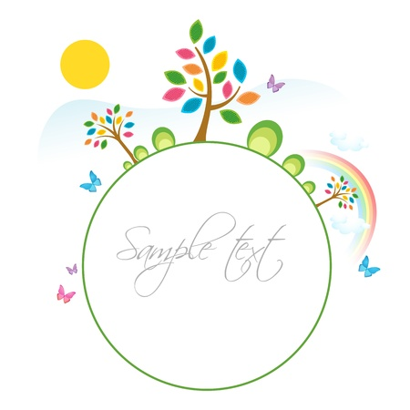 sample text: illustration of natural sample card with tree and sun on white background Illustration
