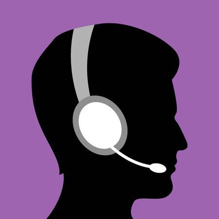 illustration of man in call center Stock Vector - 8302568