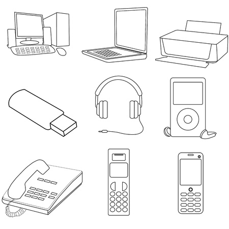 pager: illustrations of communication icons on white background Illustration