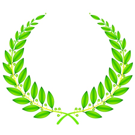 laurel leaf: illustration of  wreath sign on white background