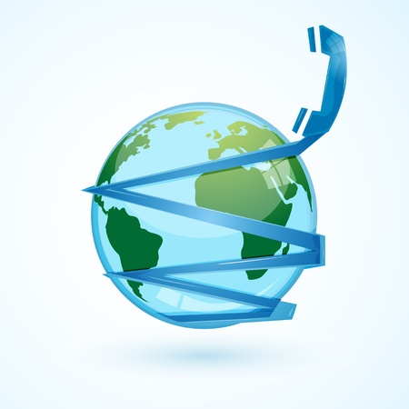 illustration of global communication  with phone and globe Stock Vector - 8302802