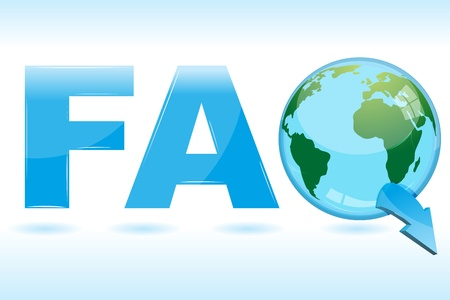 illustration of faq icon  with globe Vector