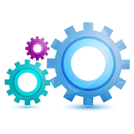 gears concept: illustration of gear tool on white background Illustration