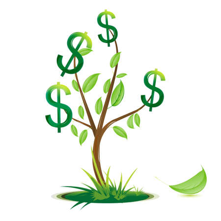 grow money: illustration of dollar tree on white background Illustration