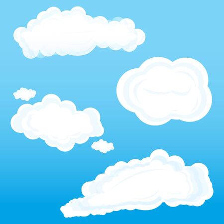 illustration of clouds on sky on white background Stock Vector - 8302763