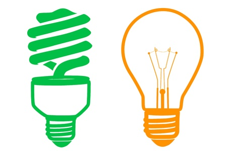 illustration of cfl and electric bulb on white background Stock Vector - 8302562