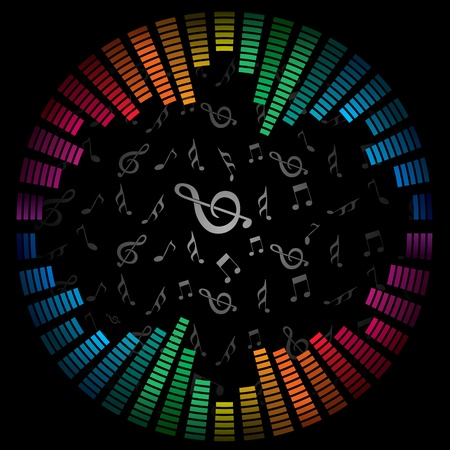 radio frequency: illustration of colorful musical background Illustration