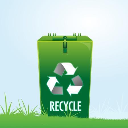 illustration of recycle bin in park Stock Vector - 8302809