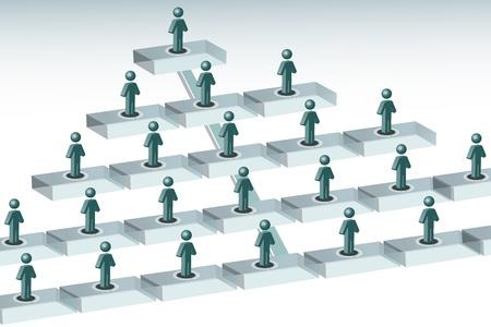 piramide humana: Ilustraci�n de organigrama sobre fondo blanco