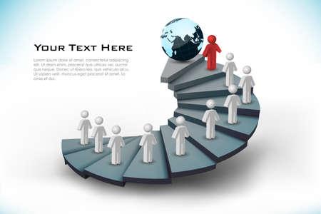 networking people: Ilustraci�n de las redes con pasos sobre fondo blanco Vectores