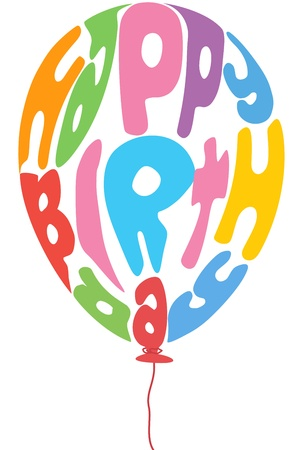 illustration of birthday balloon with text on white background Stock Vector - 8302557