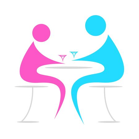 illustration of chatting on cafe between persons on white background Stock Vector - 8302569