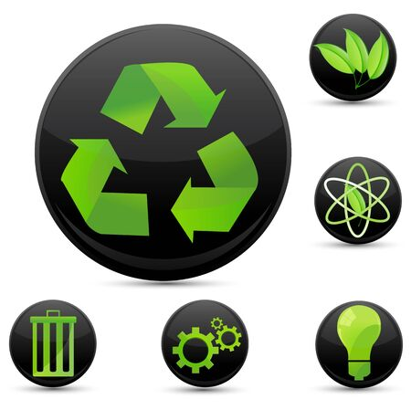 illustration of recycle icons on white background Stock Vector - 8302795