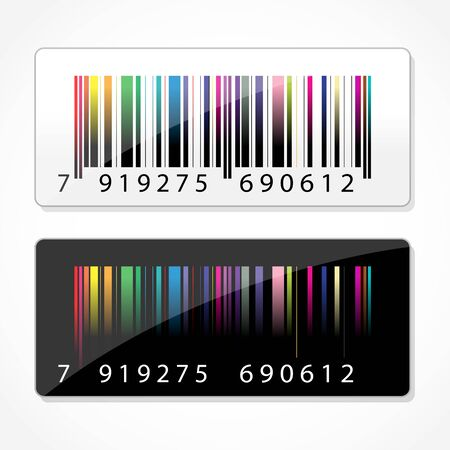 illustration of colorful barcode on white background