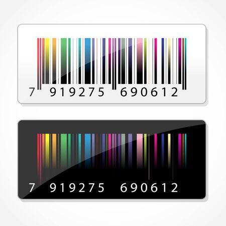 barcode scan: Ilustraci�n de c�digo de barras colorido sobre fondo blanco