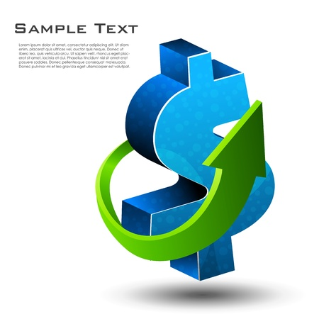 illustration of dollar sign with arrow on white background