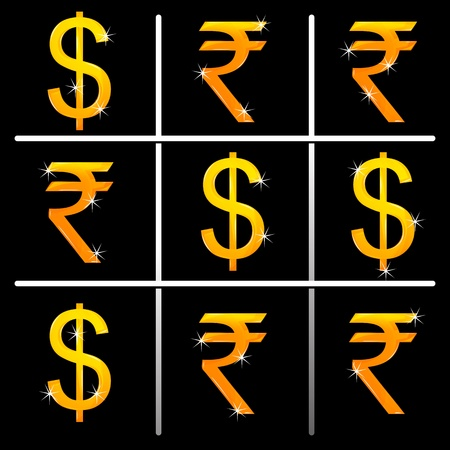 illustration of tic tac toe game with signs of money Vector