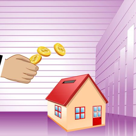 collecting: illustration of collecting money with home