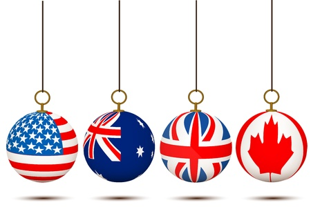 illustration of hanging country flag balls on white background Stock Vector - 8302776
