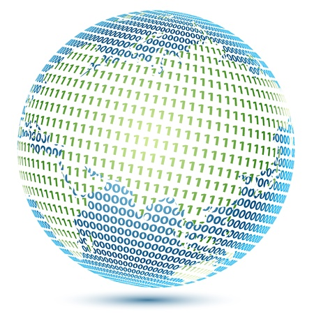 illustration of globe with binary number Stock Vector - 8302907
