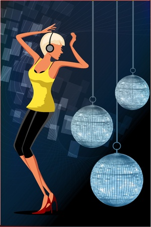 evening ball: illustration of dancing girl in disco