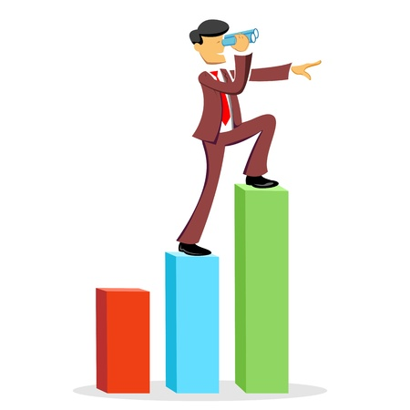 financial gains: illustration of climbing business man on white background