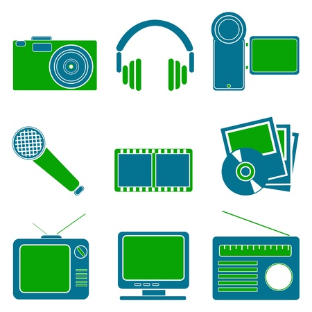 illustration of entertainment symbols on white background Vector