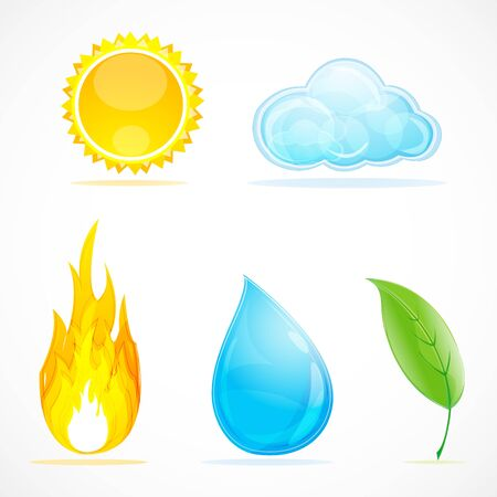 illustration of kinds of weather on white background Stock Vector - 8302800