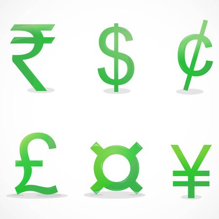 rupee: illustration of currency signs on white background
