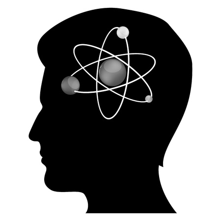 orbiting: illustration of mans mind with atom on white background